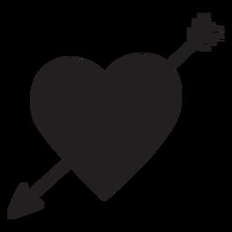 Coração com silhueta de seta