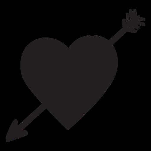 Coração com silhueta de seta Transparent PNG