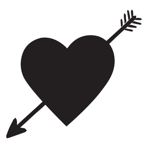 Heart with arrow silhouette Transparent PNG