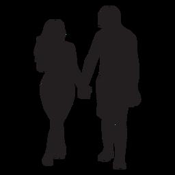 Em silhueta de casal amor