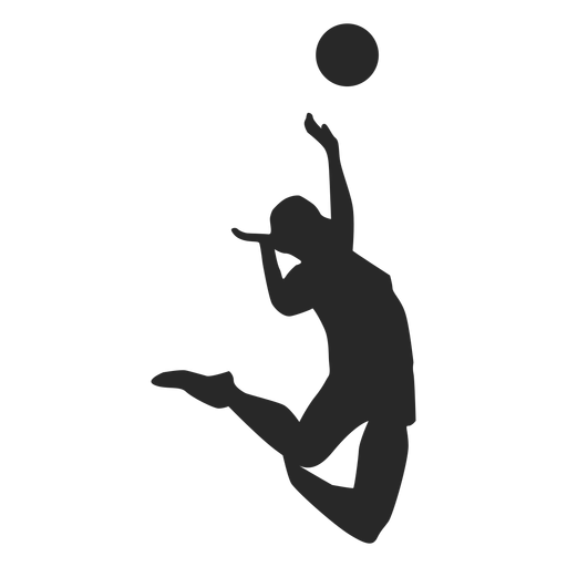 Jumping spike volleyball silhouette