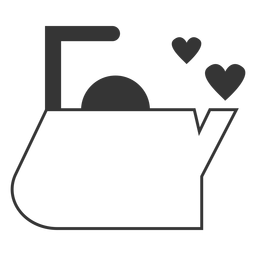 Ícone de estilo de linha de coração de chaleira