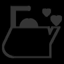 Icono de estilo de línea de corazón de caldera