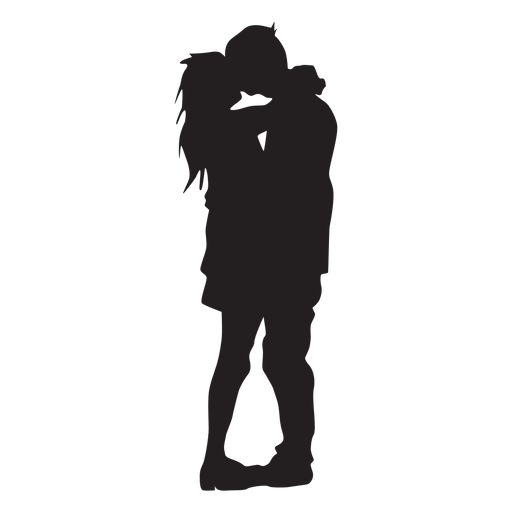 Kissing couple silhouette love