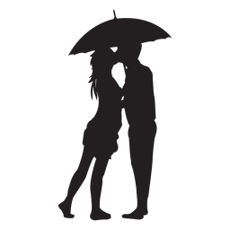 Kissing under the umbrella silhouette