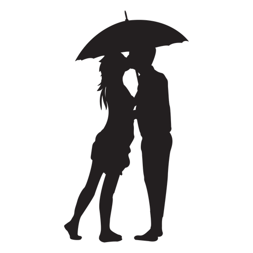 Kissing under the umbrella silhouette Transparent PNG
