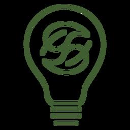 Lâmpada com folhas dentro do ícone