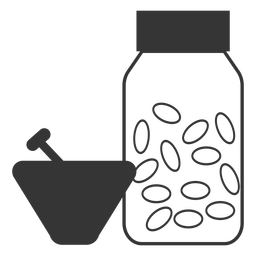Ícone de medicina de estilo almofariz e pilão de linha