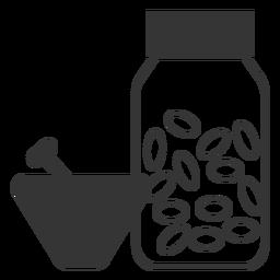Línea estilo mortero y mazo icono de medicina
