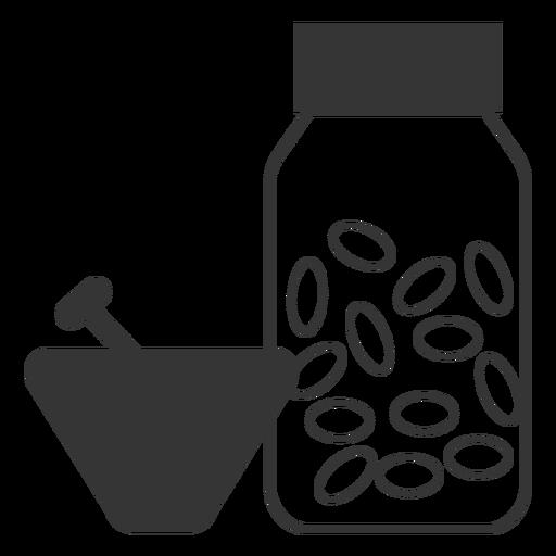 Línea estilo mortero y mazo icono de medicina Transparent PNG