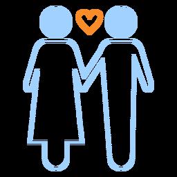 Amor pareja icono de estilo de línea