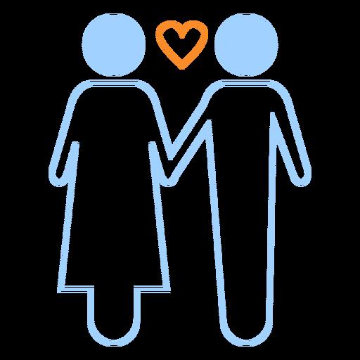 Amor pareja icono de estilo de línea Transparent PNG