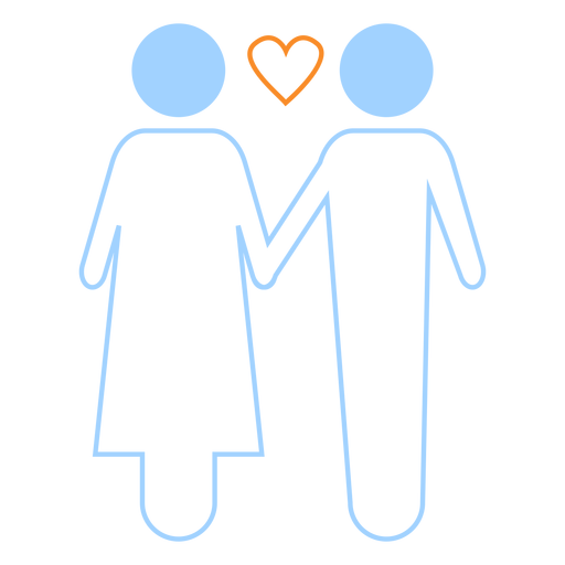 Love couple line style icon Transparent PNG