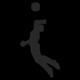 Jugador de voleibol masculino clavando silueta