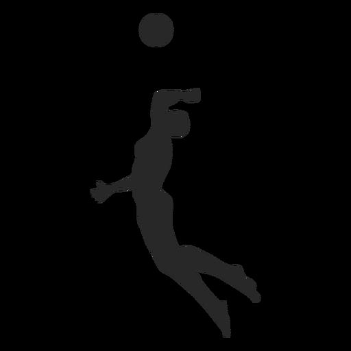 Jogador de voleibol masculino cravando a silhueta Transparent PNG