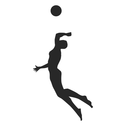 Male volleyball player spiking silhouette Transparent PNG