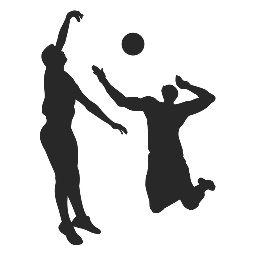 Male volleyball players silhouette Transparent PNG