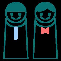 Vetor de estilo de linha masculino e feminino