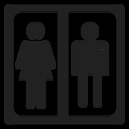 Quadratische Ikone des männlichen und weiblichen Zeichens