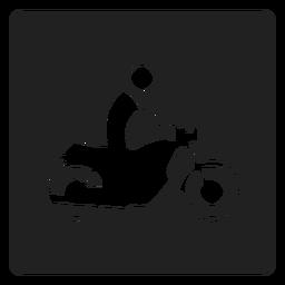 Mann, der eine quadratische Ikone des Motorrads reitet