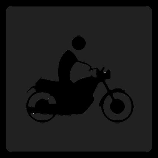 Hombre montando un icono cuadrado de moto