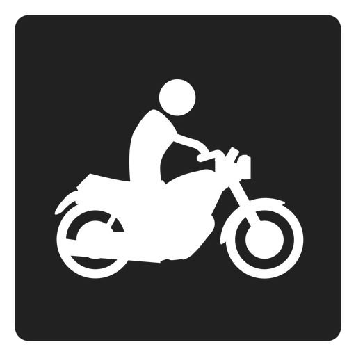 Man riding a motorbike square icon Transparent PNG