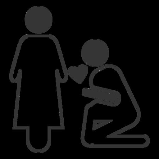 Ícone de estilo de linha de proposta de casamento Transparent PNG