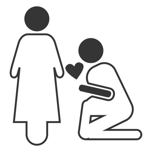 Marriage proposal line style icon Transparent PNG
