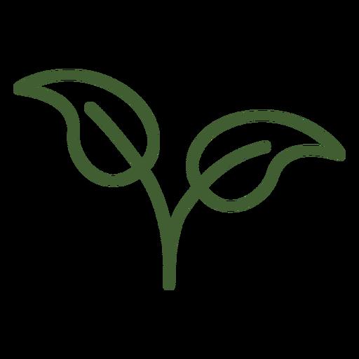 Ícone natural de duas folhas Transparent PNG