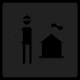 Patriotic house square icon