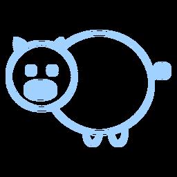 Vector de estilo de línea de cerdo
