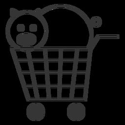 Cerdo en un icono de carrito de compras