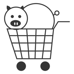 Porco em um ícone de carrinho de compras