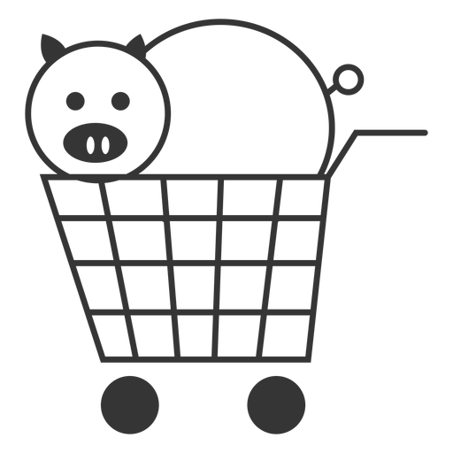 Pig in a shopping cart icon Transparent PNG