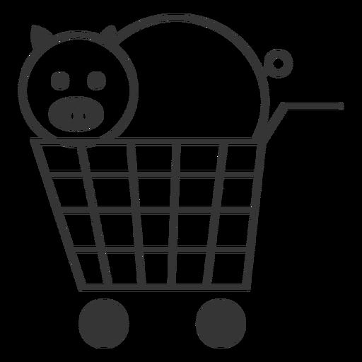 Schwein in einem Warenkorb-Symbol Transparent PNG