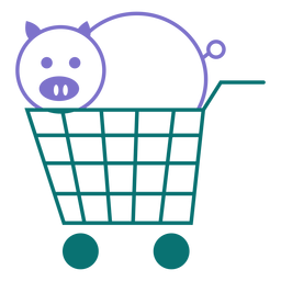 Pig on a cart line style vector