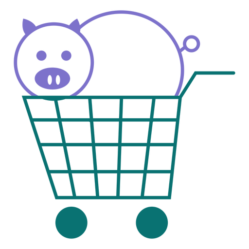 Pig on a cart line style vector Transparent PNG