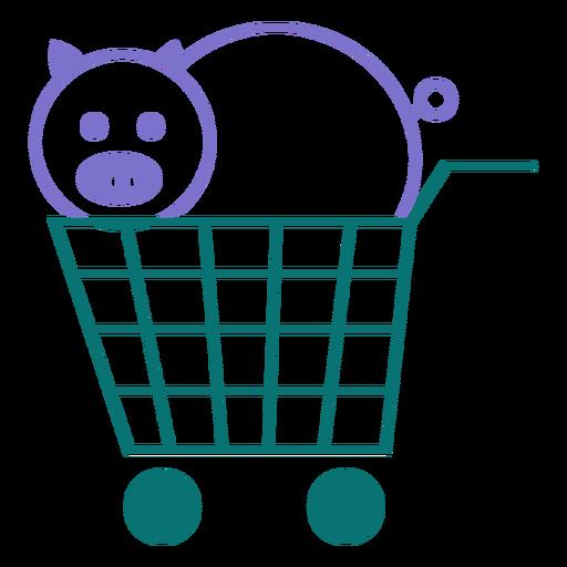 Schwein auf einer Wagenlinie Artvektor Transparent PNG