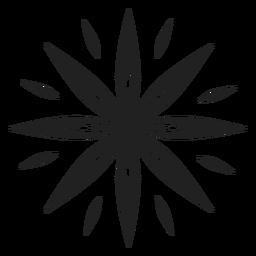 Icono de flor de ocho pétalos puntiagudos