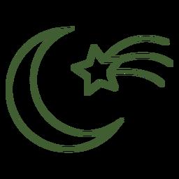 Estrela cadente e ícone da lua