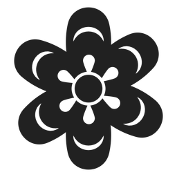 Icono de flor simple en blanco y negro