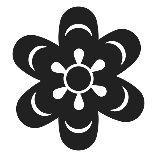 Simple black and white flower icon Transparent PNG