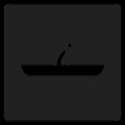 Ícone quadrado de barco simples