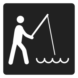 Icono de pesca simple cuadrado