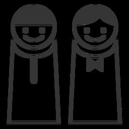 Icono femenino masculino simple