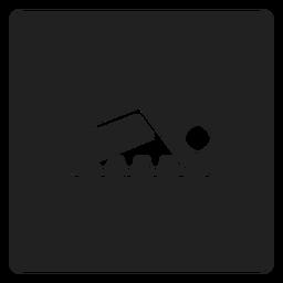 Ícone quadrado simples nadador