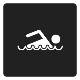 Icono cuadrado simple nadador