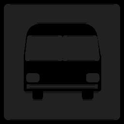 Ícone quadrado simples de ônibus