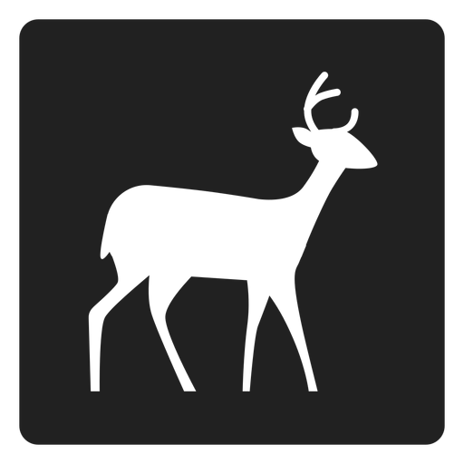 Simple deer square icon Transparent PNG