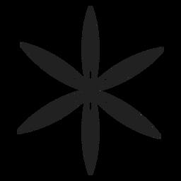 Icono de flor de seis pétalos finos